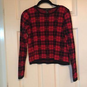 Cropped red/black tartan sweater